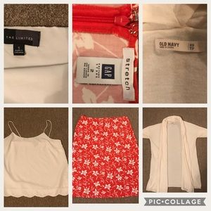 3 pc lot size 2, small, And Xs skirt, cardigan,top